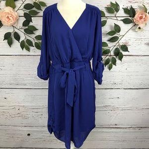 DR2 Blue Long Sleeve Button Up Dress